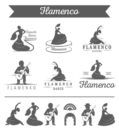 speargun: Set of vector logos, badges and silhouettes Flamenco. Collection emblems of traditional Spanish dance, signs school, clubs, shops and studios flamenco isolated on a white background