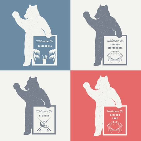 print shop: Vector Illustration Bear with Sign Welcome to Seafood Shop, Restaurant and Fishing on a white background. Bear Symbol for T-shirts print, labels, badges, stickers and logos