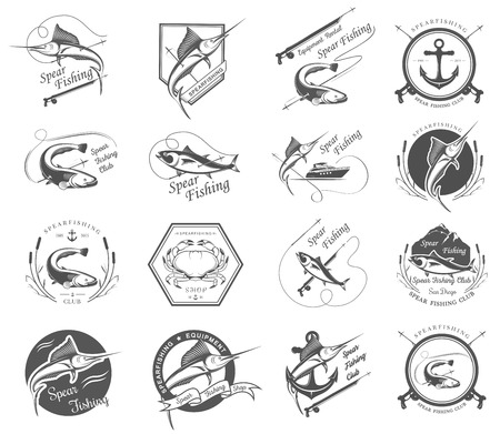 Big set of logos, badges, stickers and prints spearfishing isolated on white background. Premium vector label for spearfishing and underwater swimming - Stock Vector