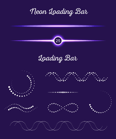 progressbar: Collection of modern glowing preloaders and progress loading. Set loading bars in the form of points on a dark background for your design Stock Vector Illustration