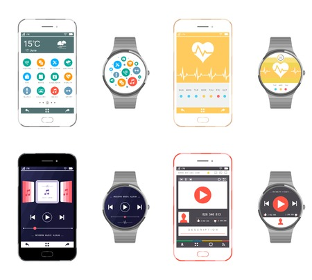 smart object: Vector set smartphone and smart watches isolated on a white background. Realistic models of smart devices without the use of gradients.