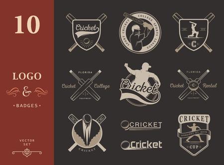 sport equipment: Set of cricket team emblem design elements. Vector sign and logo sport game - Cricket