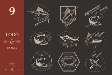 Big set of logos, badges, stickers and prints spearfishing on isolated background. Premium vector label for spearfishing and underwater swimming - Stock Vector Logo
