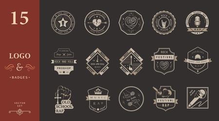 baile hip hop: Conjunto de insignias de vectores y logos de la música rock y el rap de la música clásica, la música electrónica y la música disco. La colección de símbolos y emblemas para la impresión de camisetas, festivales y fiestas. Vectores