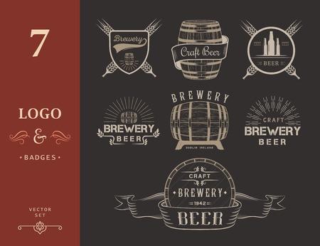 Vintage řemeslo pivovar logo, odznak emblémy, štítky a prvky návrhu