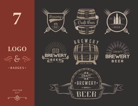 alcohol logo: Vintage craft beer brewery logo, badge emblems, labels and design elements