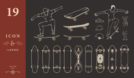 skateboard: Set of skateboards and skateboarding of equipment, clothing, protection, and elements of street style. Silhouettes tricks skateboarders, and big collection symbols skateboards