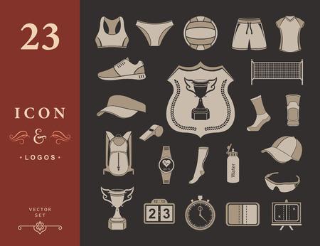 voleibol: Icono de Voleibol set - Imagen vectorial. Amplio conjunto de símbolos, logos e iconos de voleibol. Deportes de equipo, protección, rastreadores, las siluetas de jugadores, uniformes, ropa y zapatos. Vectores