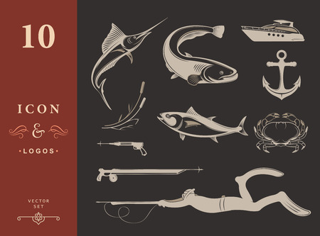 spearfishing: Vector set of icons and silhouettes of equipment and types of fish and underwater animals on isolated background. Badges and labels for spearfishing - Stock Vector Illustration