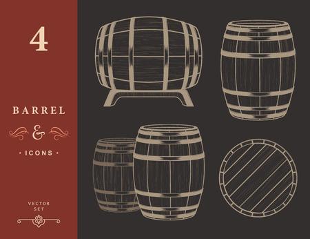 Vector set of barrels in vintage style. Collection barrels - stock vector