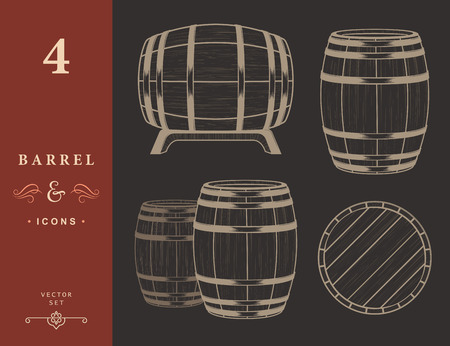 wooden barrel: Vector set of barrels in vintage style. Collection barrels - stock vector