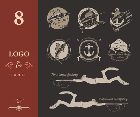 spearfishing: Big set of logos, badges, stickers and prints spearfishing on isolated background. Premium vector label for spearfishing and underwater swimming - Stock Vector Illustration