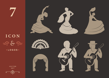 guitarists: Set of vector silhouettes and templates of flamenco on isolated background. Collection Icons of traditional Spanish dance. Signs of dancers, guitarists and Fan