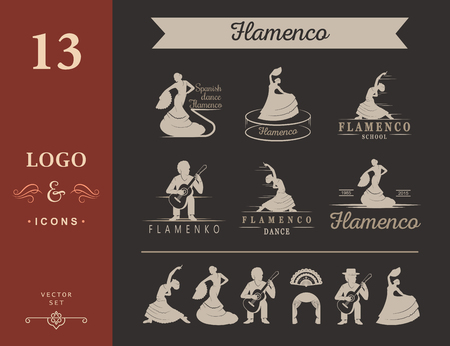 speargun: Set of vector logos, badges and silhouettes Flamenco. Collection emblems of traditional Spanish dance, signs school, clubs, shops and studios flamenco