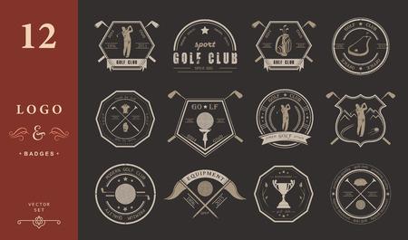 ゴルフ クラブのロゴ、ラベルとエンブレムのベクトルを設定します。ベクトルのロゴ デザイン テンプレートを遊んでゴルファー。コンセプト アイ