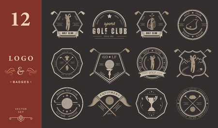 tournament: Vector set of golf club logos, labels and emblems. Golfer playing vector logo design template. Concept icons organization tournaments golf clubs.