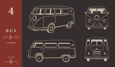 アイコンやバスのシルエット ベクトルを設定  イラスト・ベクター素材