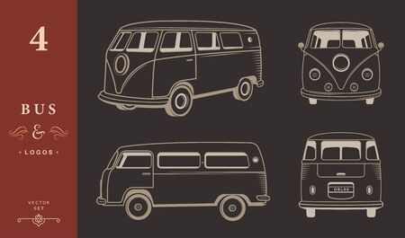Vector set icons and silhouettes of bus