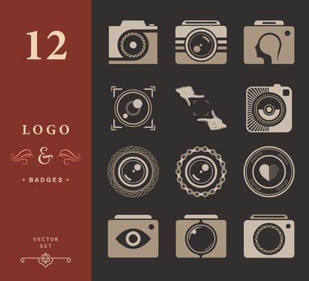 photography: Vector collection of photography logo templates. Photography vintage and modern badges and photo labels. Photocam logotypes.
