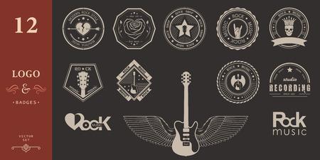 Ensemble de studios de musique logos de rock et d'enregistrement. éléments de conception de la musique avec des illustrations vecteur type et de la police. Étiquette vintage rock Bête (T-Shirt Print).