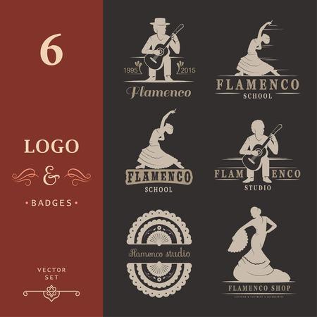 danseuse flamenco: Jeu de logos de vecteur, badges et des silhouettes de flamenco. Emblèmes de la collection de la danse traditionnelle espagnole, des signes scolaires, clubs, magasins et studios Flamenco isolés sur un fond blanc