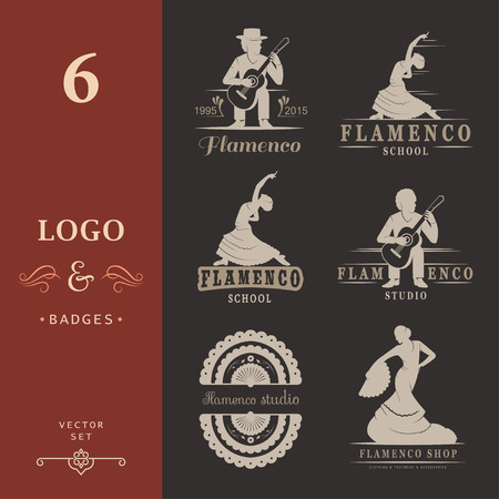 spanish dancer: Set of vector logos, badges and silhouettes Flamenco. Collection emblems of traditional Spanish dance, signs school, clubs, shops and studios flamenco isolated on a white background
