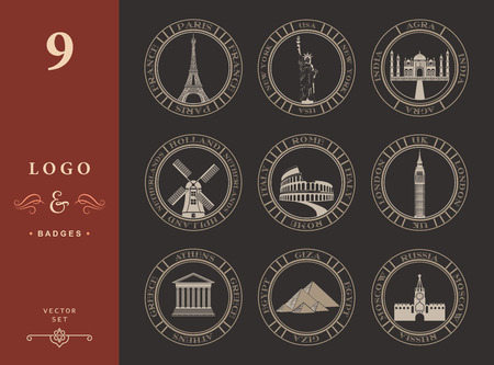 attractions: Stickers and icons of travel. Vector illustration isolated famous scenic attractions and places of world.