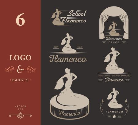 bailando flamenco: Conjunto de logotipos del vector, escudos y siluetas de flamenco. Emblemas de la colección de la danza tradicional española, muestras de la escuela, clubes, tiendas y estudios de Flamenco aislado en un fondo blanco Vectores