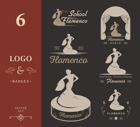 flamenco: Set of vector logos, badges and silhouettes Flamenco. Collection emblems of traditional Spanish dance, signs school, clubs, shops and studios flamenco isolated on a white background