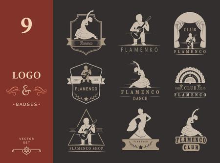 bailando flamenco: Conjunto de logotipos del vector, escudos y siluetas de flamenco. Emblemas de la colecci�n de la danza tradicional espa�ola, muestras de la escuela, clubes, tiendas y estudios de Flamenco aislado en un fondo blanco Vectores