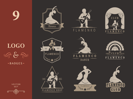 Set of vector logos, badges and silhouettes Flamenco. Collection emblems of traditional Spanish dance, signs school, clubs, shops and studios flamenco isolated on a white background Logo