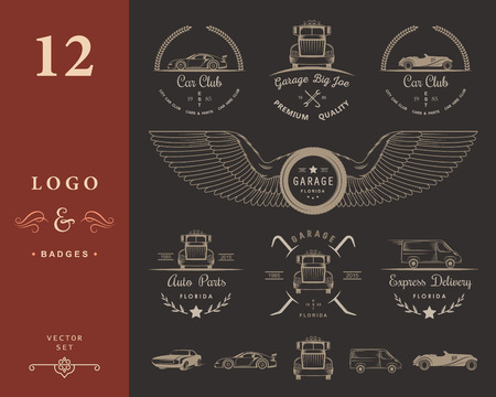 sports club: Set of vintage car club, drift club, auto parts and garage labels, badges and design elements. Badges trucks, vintage cars and sports cars. Illustration