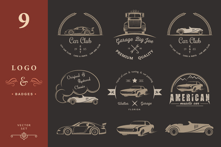 drifting: Set of vintage car club, drift club, auto parts and garage labels, badges and design elements. Badges trucks, vintage cars and sports cars. Illustration