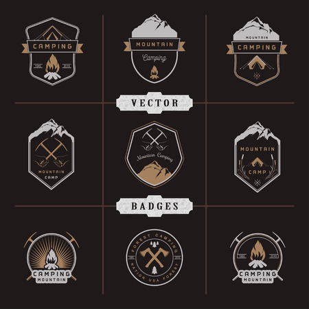 camp: Set of vector logos and badges camping, hiking and outdoor activities. Collection of vintage emblems and symbols of woods camp, travel and mountain camping