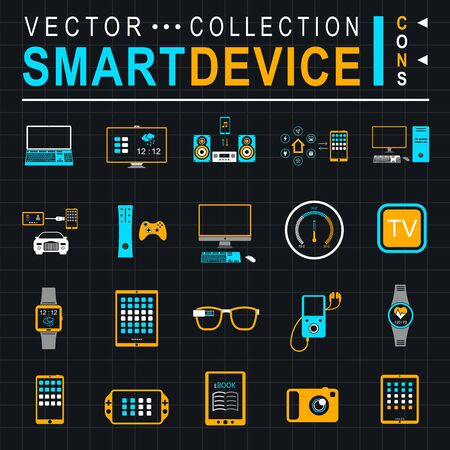 audio electronics: Icons set of smart devices, modern wearable electronics, audio and video gadgets, communication systems and home control and the vehicle - stock vector. Illustration
