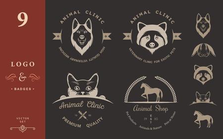 huskies: Conjunto de la insignia y logotipo elementos vintage para tienda de animales, casa de mascotas, mascotas y animales ex�ticos cl�nica.