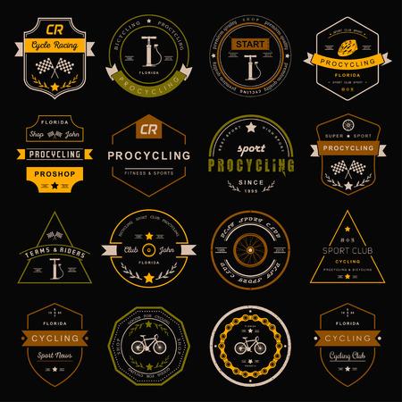 バッジとロゴのサイクリングのセットです。シンボルとエンブレム プロ自転車店と機器、サイクリング クラブ、修理ショップ。  イラスト・ベクター素材