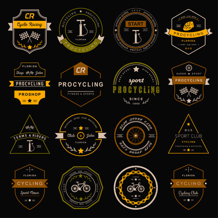 sport club: Set of badges and logos cycling. Symbols and emblems pro bike shop and equipment, cycling club and repair shops.