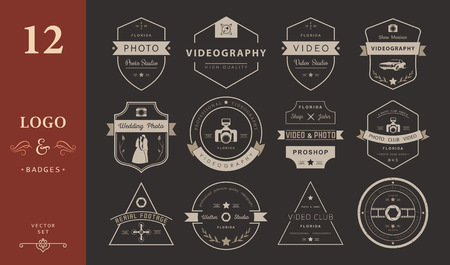 slow motion: Vector collection of photography and videography logo templates. Photocam, wedding and aerial footage logotypes. Photography vintage badges and icons. Modern mass media icons. Photo labels. Illustration