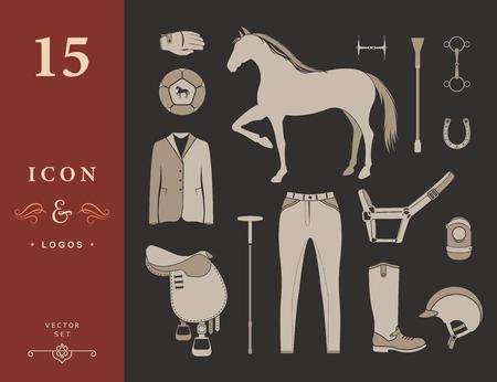 ベクトルは、スポーツ ゲーム ポロのためのアイコン及び記号を設定します。馬の機器プレーヤー - 株式ベクトル シルエット。