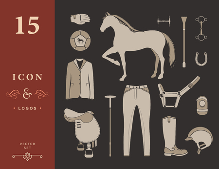 polo ball: Vector set of icons and symbols for sports games polo. Silhouettes of horses and equipment player - stock vector. Illustration