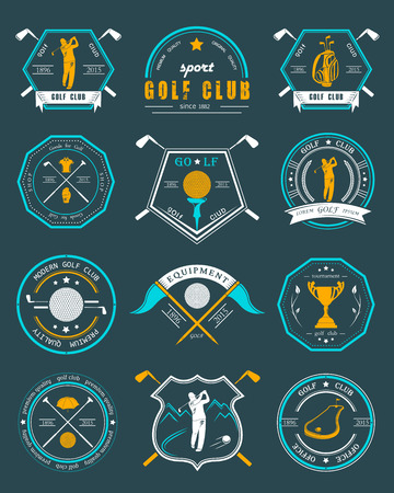 golf bag:  set of golf club , labels and emblems. Golfer playing icon design template. Concept icons organization tournaments golf clubs.