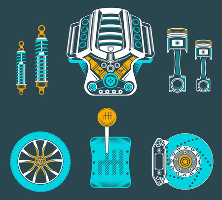 disk break:  set of parts of the machine. Engine, gearbox, shock absorbed, wheel, brake pads, piston. Illustration
