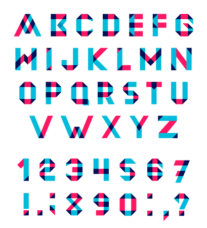 blend:  Alphabet Set Fun geometric font. font with overlapping strokes and mixed colours. Multiply blend mode. Illustration