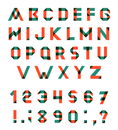 moltiplicare:  Alphabet Set Fun geometric font. font with overlapping strokes and mixed colours. Multiply blend mode. Vettoriali