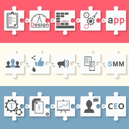 smm: Infographics set of schemes in the form of puzzles - stock . Stages of development app, seo and smm.