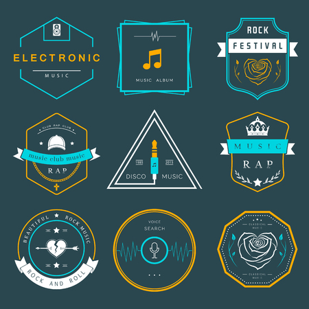 electronic music:  badges rock music, rap, classical and electronic music. festivals and concerts, elements of web design and voice search, prints for T-shirts.