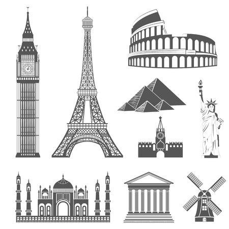 Set of icons on the topic of travel and recreation. Famous international landmarks Illustration