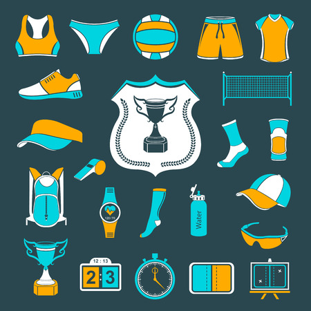 volleyball: Volleyball icon set - stock vector. Large set of symbols,  and icons of volleyball. Sports equipment, protection, trackers, silhouettes of players, uniforms, clothing and shoes.
