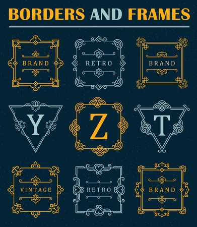 old frame: Set of luxury Borders and Frames. Business sign, symbol, identity for Restaurant, Royalty, Boutique, Hotel, Heraldic, Jewelry, Fashion